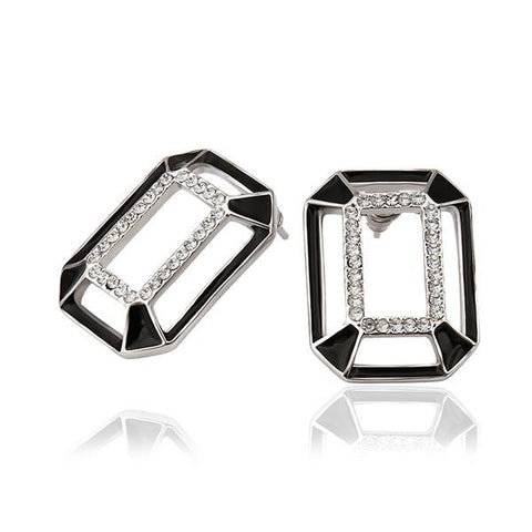 18K White Gold Abstract Onyx Covering Studs Made with Swarovksi Elements - rubiquejewelry.com