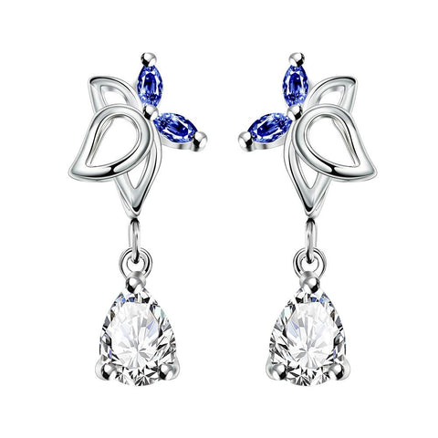 Mock Sapphire Hollow Butterfly Dangling Earrings - rubiquejewelry.com