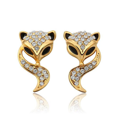 18K Gold Swirl Kitty Cat Earrings Made with Swarovksi Elements - rubiquejewelry.com