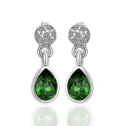 18K White Gold Emerald Ruby Drop Down Earrings Made with Swarovksi Elements - rubiquejewelry.com