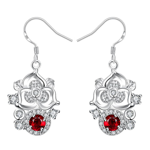 Petite Ruby Red Gem Blossoming Clover Drop Earrings - rubiquejewelry.com