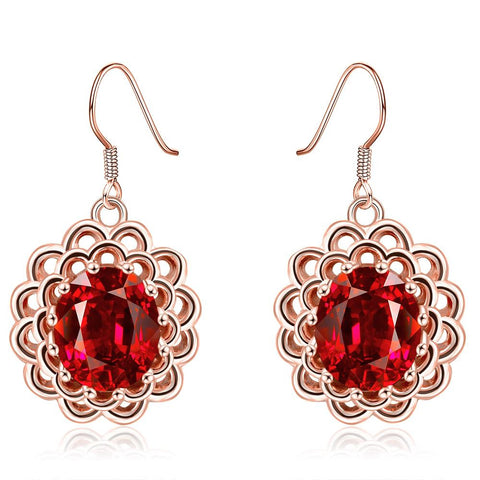 18K Rose Gold Ruby Gem Drop Down Earrings Made with Swarovksi Elements - rubiquejewelry.com