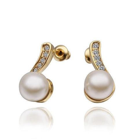 18K Gold Swirl Drop Earrings with Pearl Centerpiece Made with Swarovksi Elements - rubiquejewelry.com