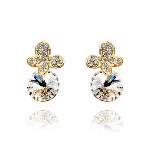 18K Gold Clover Drop Down Earrings with Jewel Gem Made with Swarovksi Elements - rubiquejewelry.com
