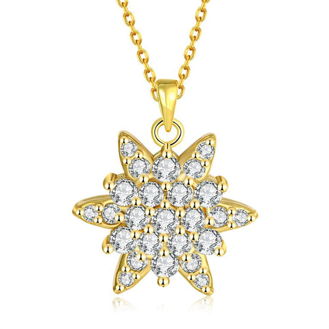 Gold Plated Crystal Filled Snowflake Necklace - rubiquejewelry.com