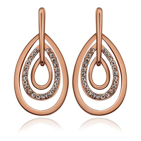 18K Rose Gold Abstract Artistic Drop Down Earrings Made with Swarovksi Elements - rubiquejewelry.com