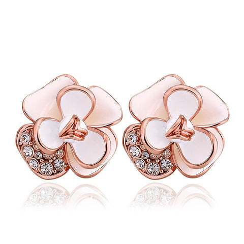 18K Rose Gold Double Ivory Covering Floral Petal Stud Earrings Made with Swarovksi Elements - rubiquejewelry.com