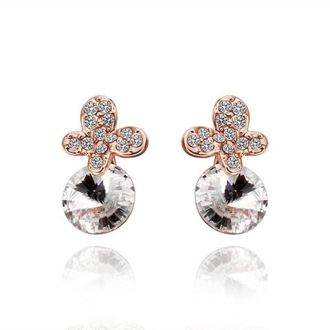 18K Rose Gold Clover Drop Down Earrings with Jewel Gem Made with Swarovksi Elements - rubiquejewelry.com