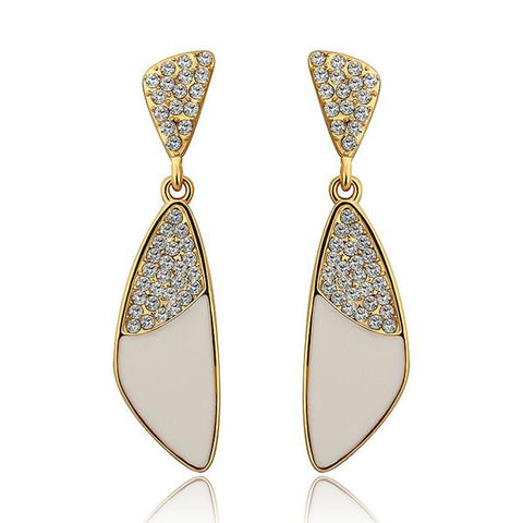 18K Gold Classic Ivory Drop Down Earrings Made with Swarovksi Elements - rubiquejewelry.com