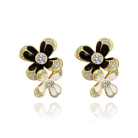 18K Gold Floral Drop Down Earrings Made with Swarovksi Elements - rubiquejewelry.com