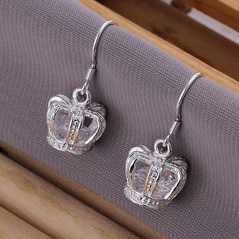 Sterling Silver Crown Shaped Drop Earring - rubiquejewelry.com