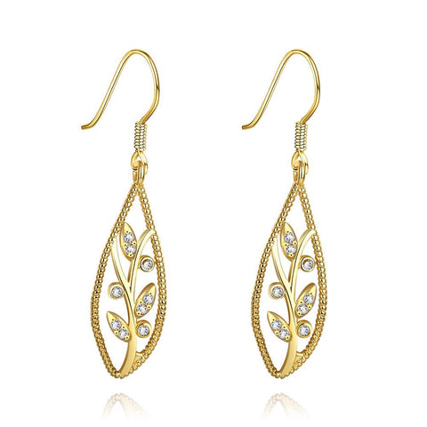 Gold Plated Olive Branch Drop Down Earrings - rubiquejewelry.com