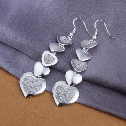 Sterling Silver Drop Multi Hearts Earring - rubiquejewelry.com