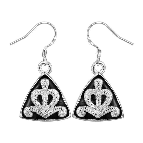 Sterling Silver Pyramid Abstract Design Drop Earring - rubiquejewelry.com