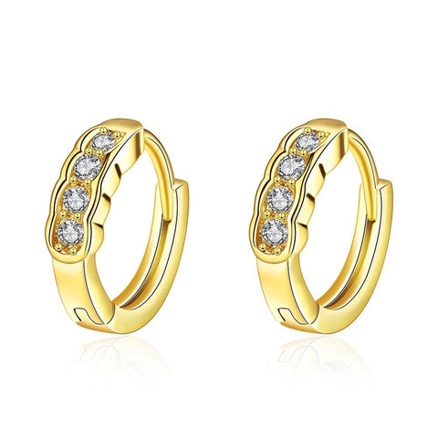 Gold Plated Circular Jewels Mini Hoop Earrings - rubiquejewelry.com