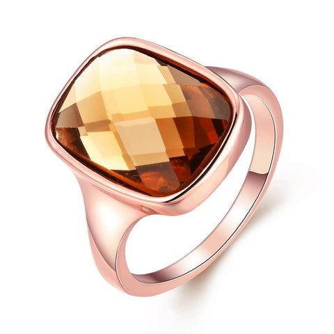 Rose Gold Citrine Stone Ring - rubiquejewelry.com