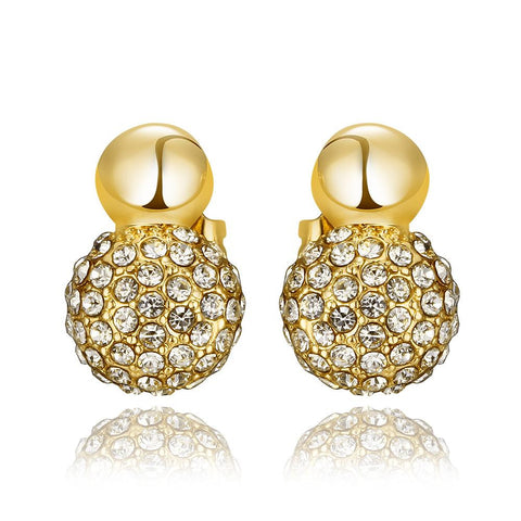 18K Gold Sau've Crystal Stud Earrings Made with Swarovksi Elements - rubiquejewelry.com