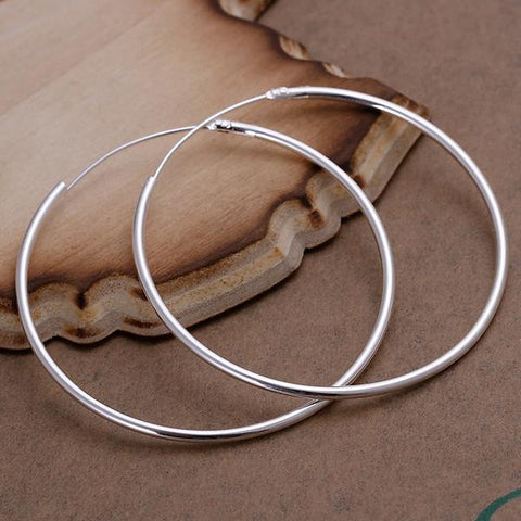 Sterling Silver Thin Cut Hoops - rubiquejewelry.com