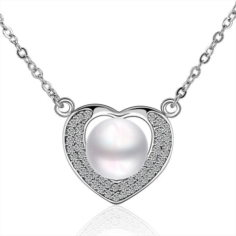 Petite Cultured Pearl Hollow Heart Necklace - rubiquejewelry.com