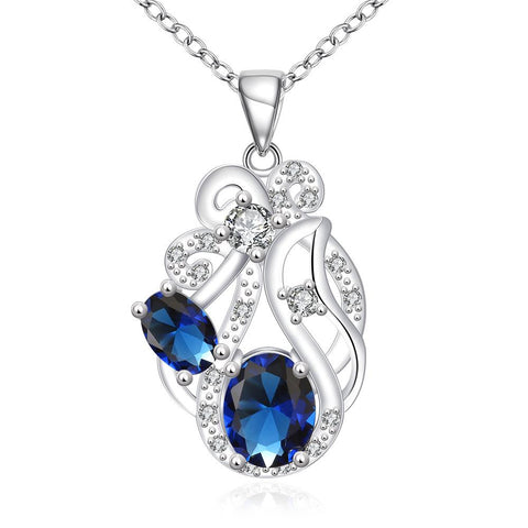 Duo Mock Sapphire Floral Spiral Pendant Drop Necklace - rubiquejewelry.com