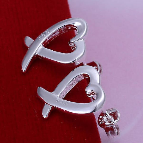 Sterling Silver Abstract Curved Heart Shaped Earring - rubiquejewelry.com