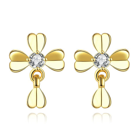 Gold Plated Classic Modern Clover Stud Earrings - rubiquejewelry.com