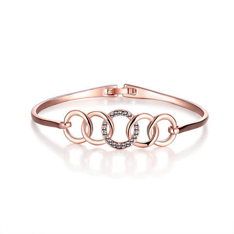 18K Rose Gold Interconnected Circles Bangle with Swarovski Elements - rubiquejewelry.com