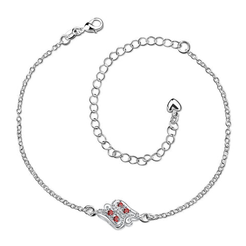Ruby Red Floral Bud Petite Anklet - rubiquejewelry.com