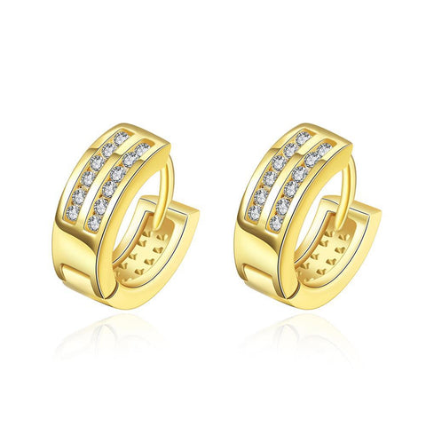Gold Plated Crystal Lined Mini Hoop Earrings - rubiquejewelry.com