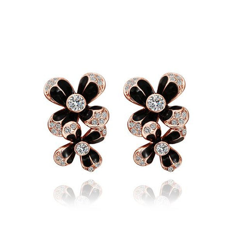 18K Rose Gold Floral Drop Down Earrings Made with Swarovksi Elements - rubiquejewelry.com
