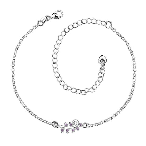 Crystal Jewels Zig Zag Petite Anklet - rubiquejewelry.com