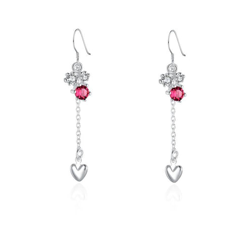 Sterling Silver Floral Orchid Ruby Drop Heart Earring - rubiquejewelry.com