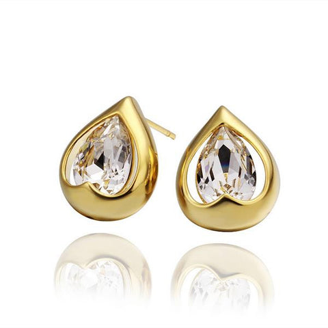 18K Gold Acorn Shaped Stud Earrings Made with Swarovksi Elements - rubiquejewelry.com