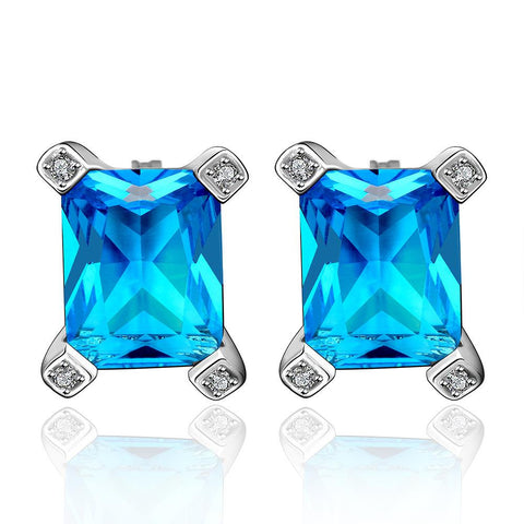 Sapphire Gem New York Inspired Stud Earrings made with Swarovski Elements - rubiquejewelry.com