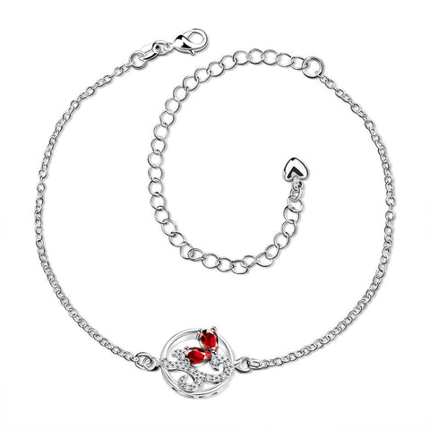 Ruby Red Abstract Circular Emblem Anklet - rubiquejewelry.com