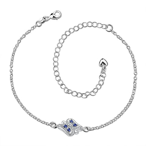 Mock Sapphire Floral Bud Petite Anklet - rubiquejewelry.com