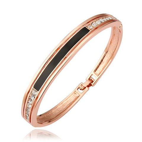 18K Gold Bangle with Onyx Plate Ingrained with Swarovski Elements - rubiquejewelry.com