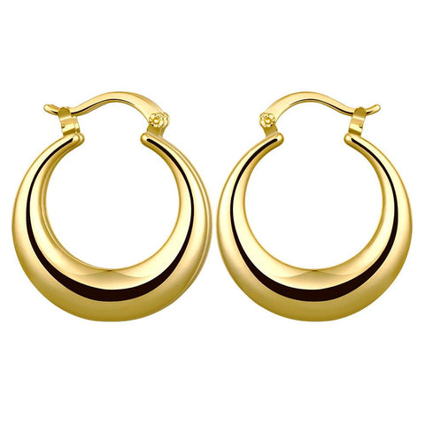 Gold Plated Twotoned Hoop Earrings - rubiquejewelry.com