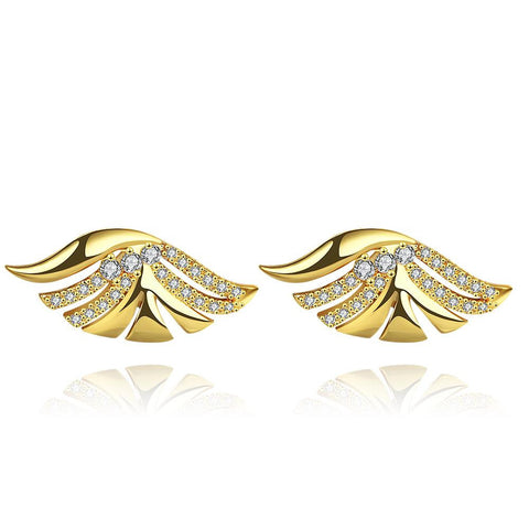 Gold Plated Wings Stud Earrings - rubiquejewelry.com