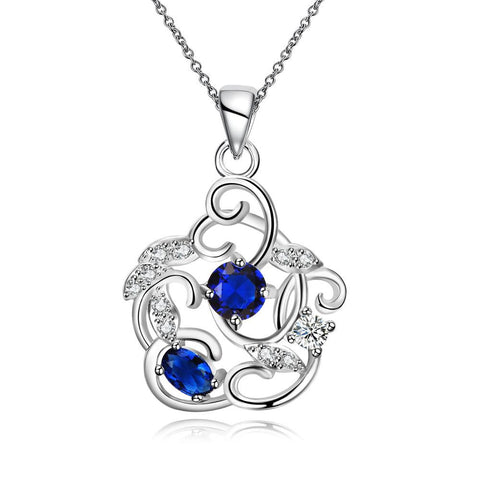 Duo-Mock Sapphire Spiral Pendant Necklace - rubiquejewelry.com