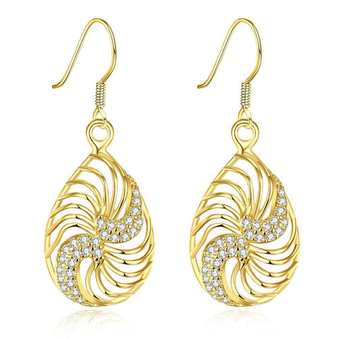 Gold Plated Bling Curves Drop Down Earrings - rubiquejewelry.com