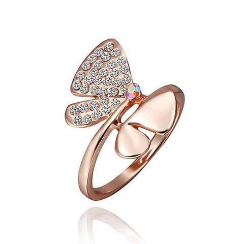 Rose Gold Plated Ruby Diamond Jewels Covering Butterfly Ring - rubiquejewelry.com