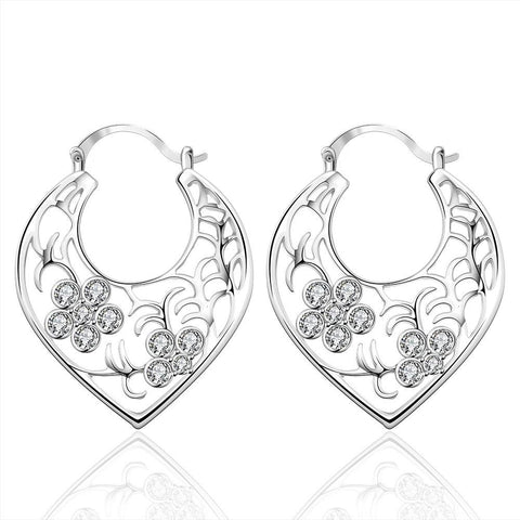 Sterling Silver Crystal Floral Inprint Hoop Earring - rubiquejewelry.com