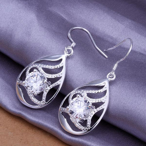 Sterling Silver Laser Cut Curved Pendant Earring - rubiquejewelry.com