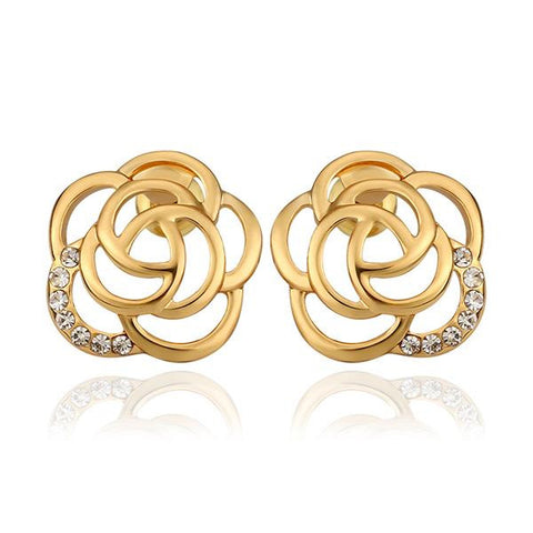 18K Gold Hollow Floral Petal Stud Earrings Made with Swarovksi Elements - rubiquejewelry.com