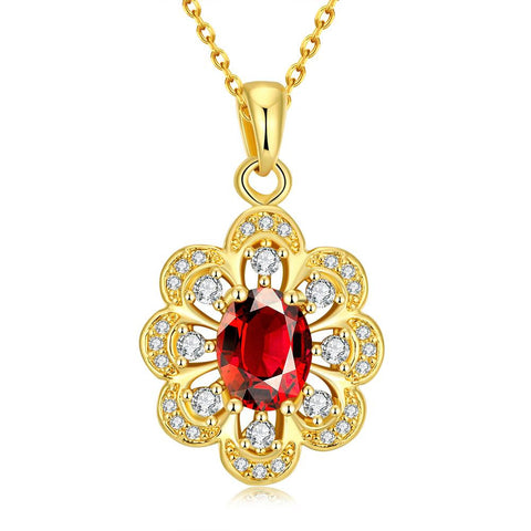 Gold Plated Circular Ruby Necklace - rubiquejewelry.com