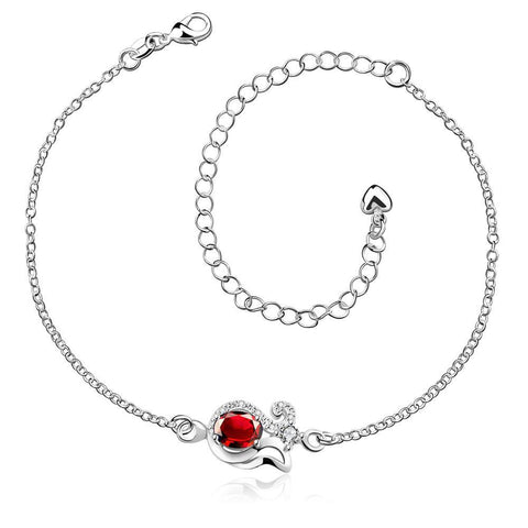 Ruby Red Swirl Pendant Anklet - rubiquejewelry.com