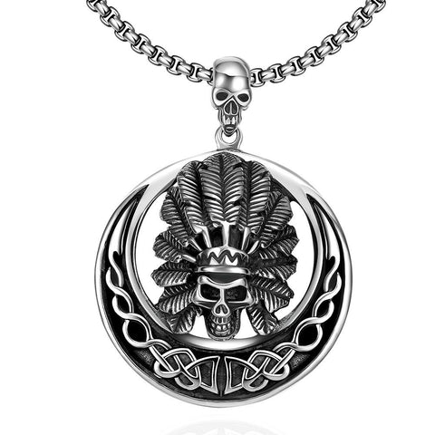 Chief Circular Emblem Stainless Steel Necklace - rubiquejewelry.com