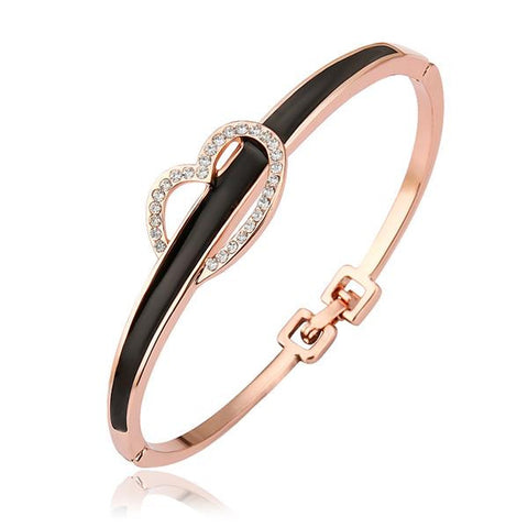 18K Gold Onyx Bangle with Heart Closure with Swarovski Elements - rubiquejewelry.com