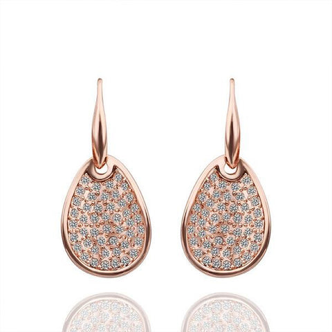 18K Rose Gold Drop Down Pear Shaped Earrings Made with Swarovksi Elements - rubiquejewelry.com
